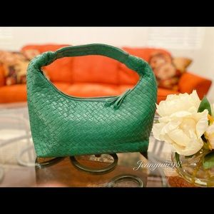 IL Bianco green woven leather satchel